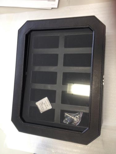 !!!!cajas para 10 relojes en cuero negro regaladas