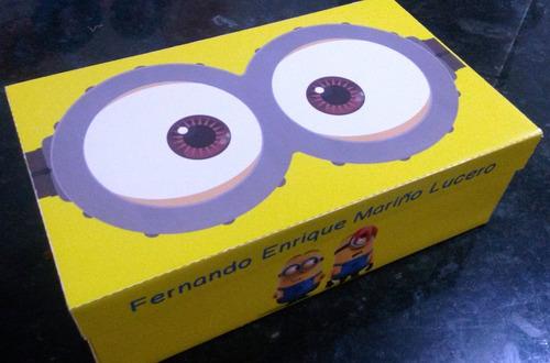 cajas para guardar tus utiles escolares minion peppa mickey