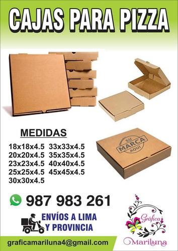 cajas para pizza, envios, papel manteca, bolsas, almanaques