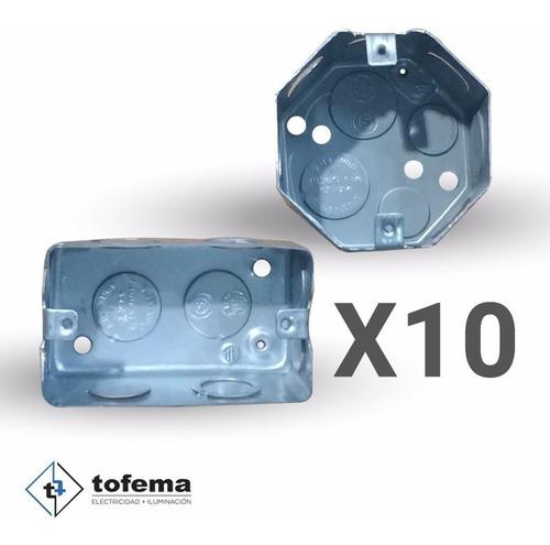cajas rectangular y octogonal combo x10u - tofema.