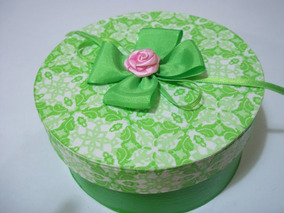 Cajas Redondas Decoradas Decoupage Cmoños Y Rosa Artesanal