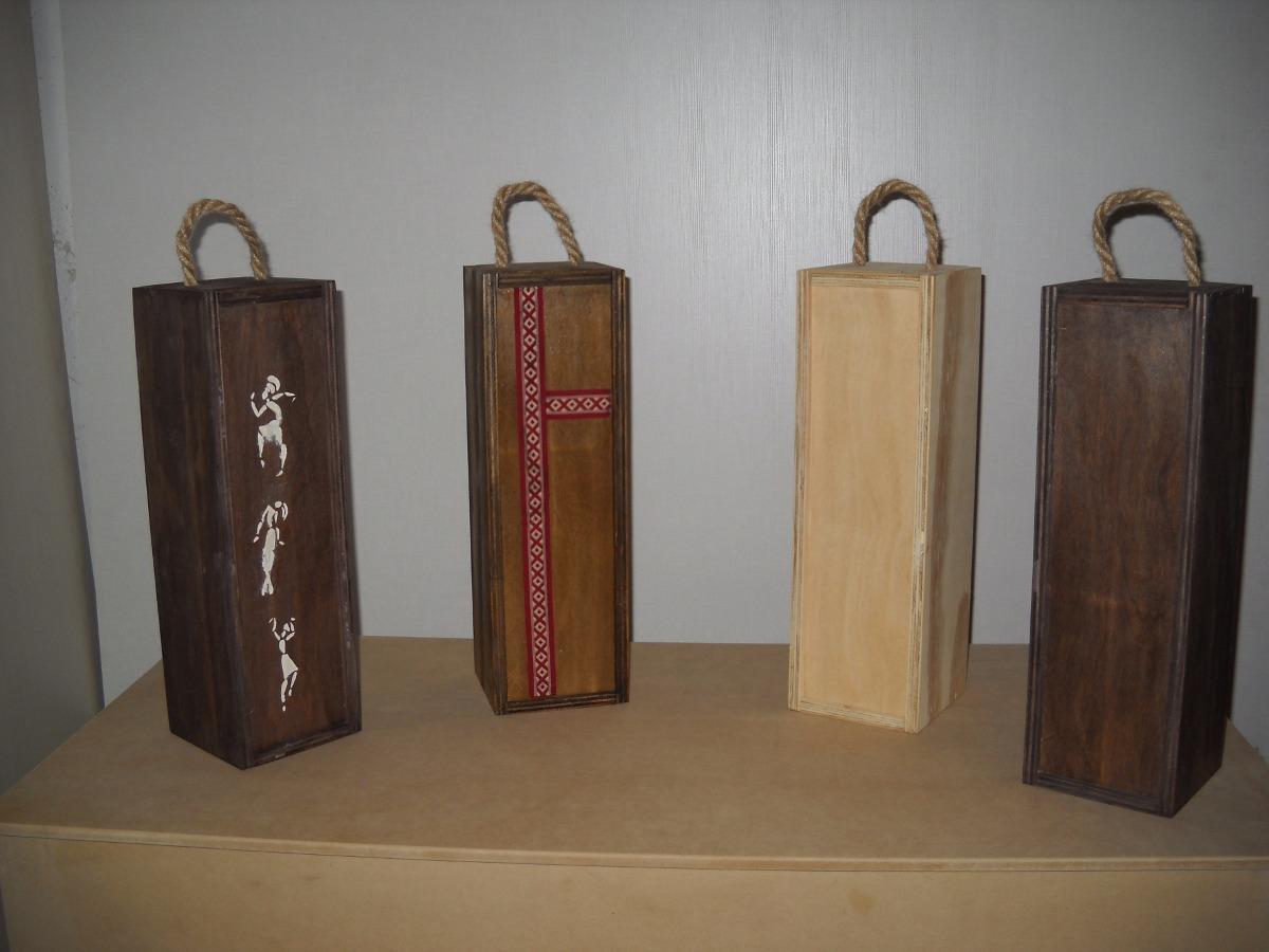 Cajas Rsticas Estuches De Vino Con Decorados Artesanales 10500