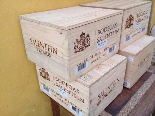 cajas vacias de madera vinos salentein x 6.