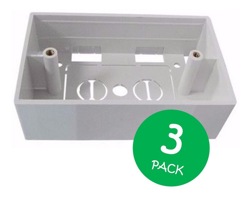 cajetin plastico 4x2 superficial faceplate redes 3 und