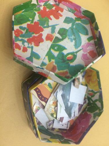 cajita de cartón forrada