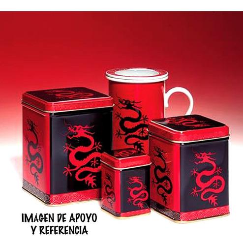 cajita de lata de té dragón mágico,buen estado de colección