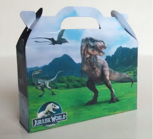 cajita jurassic world dinosaurios pack x100 valijitas