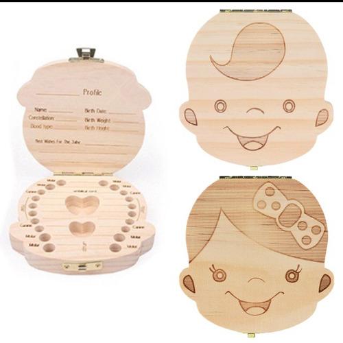 cajita madera para dientes y recuerdos bebé