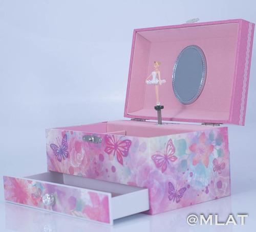 cajita musical con cajón infantil alhajero bailarina flores