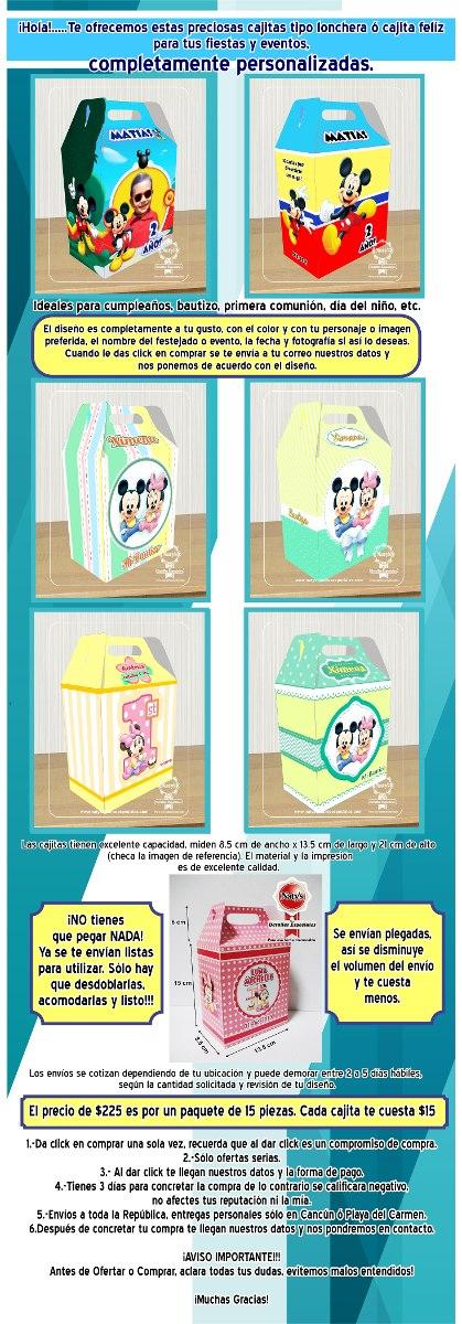 Cajitas Dulceros Personalizados Mickey Mouse Minnie 15 Pzas ...