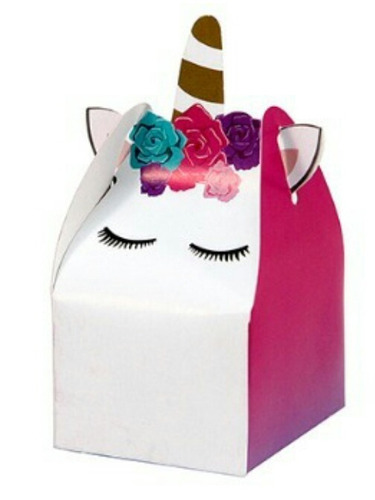 cajitas dulceros unicornio cubo 30 + lonchera incluye envío