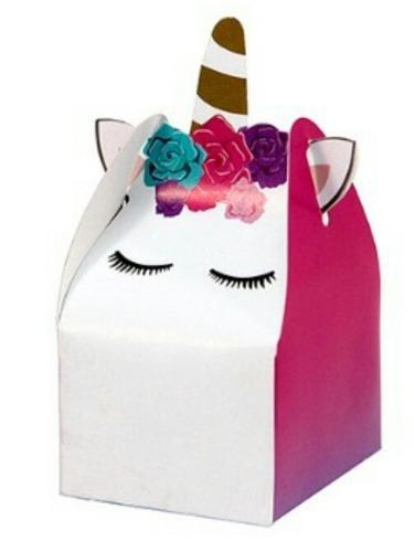 cajitas dulceros unicornio cubo 30pz 6x6cm incluye envío