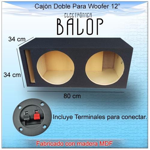 cajón acústico doble para woofer 12  de mdf
