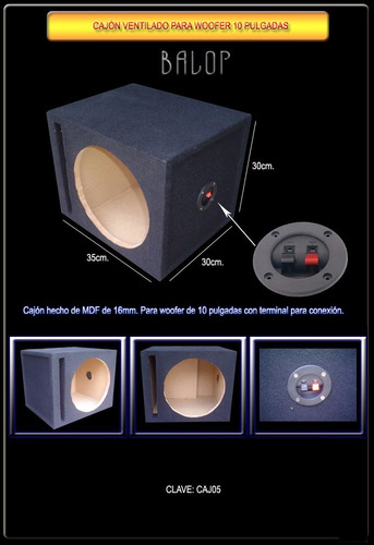 cajon acústico para woofer 10 mdf somos fabricantes