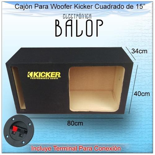 cajón acústico para woofer 15 pulgadas con logo kicker