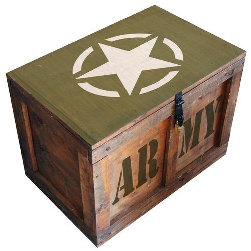 cajón baúl madera mesa vintage chico herraje logos pintados