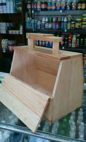 cajon de madera natural para bolear zapatos 25x25x15cms