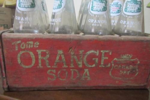cajon java madera antiguo 12 botellas orange canada dry