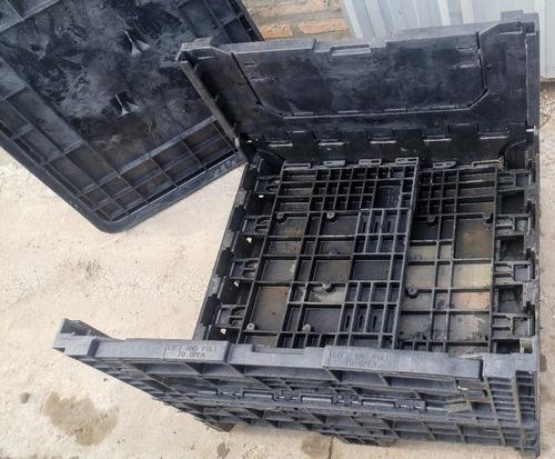 cajón plástico colapsable, apilable, con tapa (1,0 x 1,2 m)