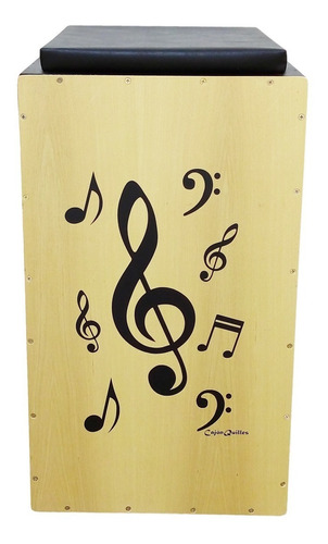 cajón quilles eletroacústico nota musical + 2 vassourinhas