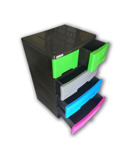 Cajonera 4 niveles multicolor de plastico gavetero 4 niv - Cajonera de plastico ...