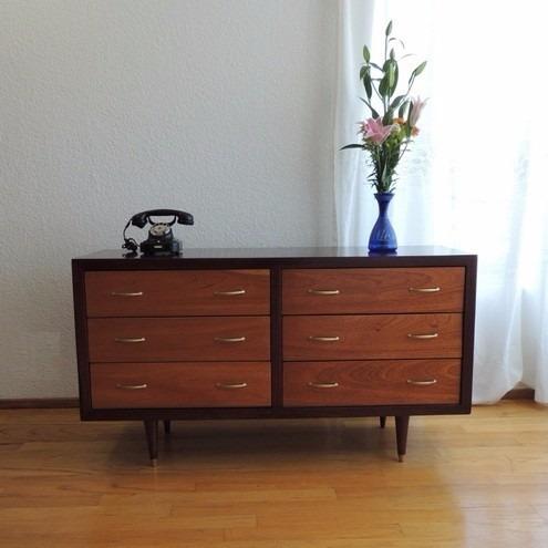 Cajonera Cómoda Estilo Danés Años 60s Muebles Vintage Caoba ...