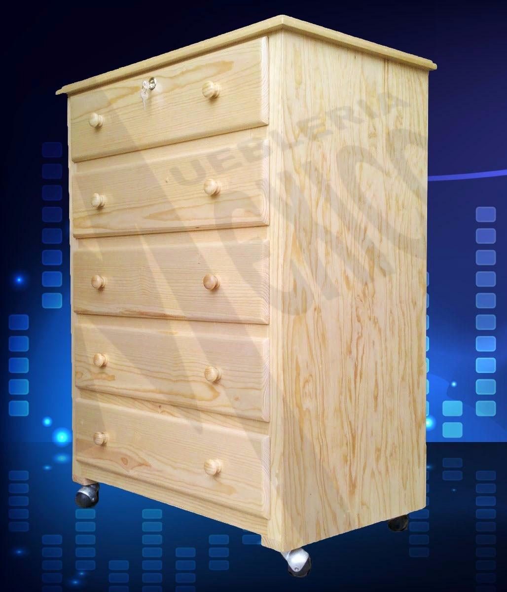 Cajonera d madera natural de pino rodajas 5 cajones y barniz 2 en mercado libre - Madera de pino ...