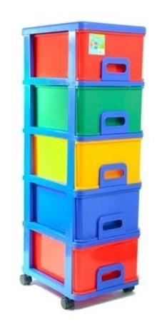 cajonero 5 gavetas con rodachines  multicolor