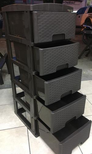 cajonero organizador cinco gavetas apariencia rattan wengue