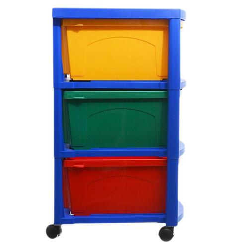 cajonero organizador multicolor con ruedas 3 cajones pvc