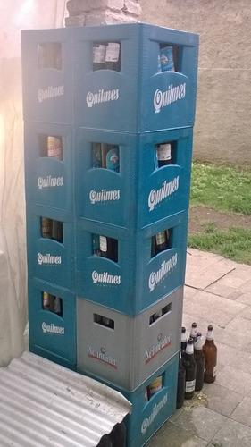cajones de cerveza quilmes con envases de quilmes /brahma