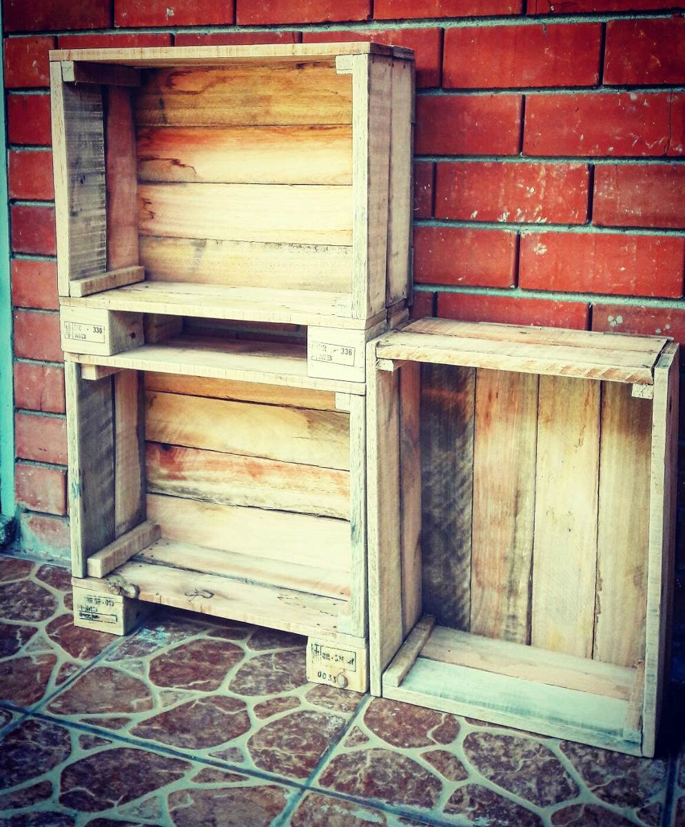 Cajones de madera feria nuevos verduras frutas impecables - Cajones de fruta de madera ...