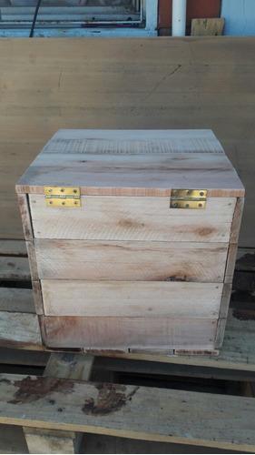 cajones puff de madera con tapa rusticos