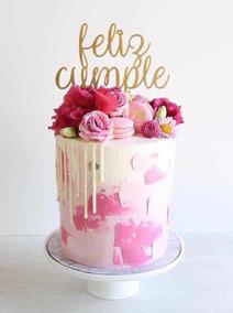 24 X Feliz Cumpleaños Rosa Comestible Cupcake Toppers Papel Arroz Premium 1861
