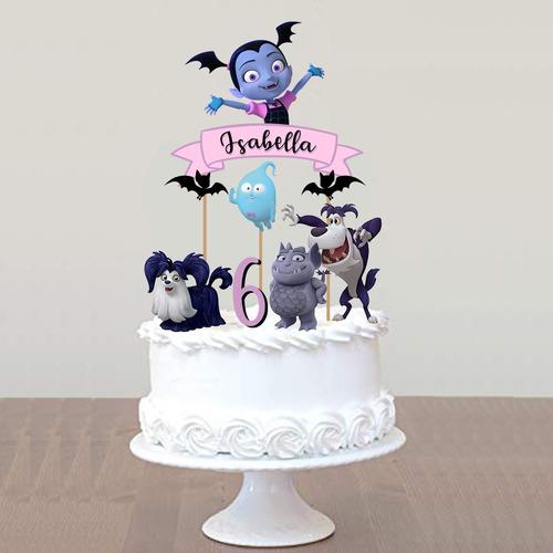 cake topper pincho personalizado adorno torta vampirina
