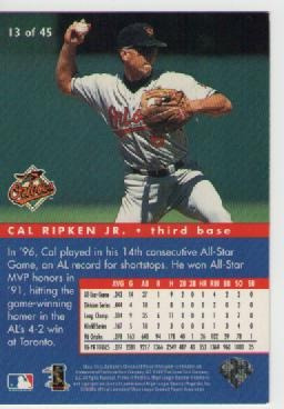 cal ripken jr, collector's choice  1997 all stars connection