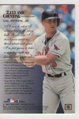 cal ripken jr, flair enduring mail 1995