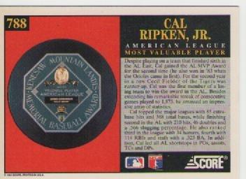 cal ripken jr, score 1992