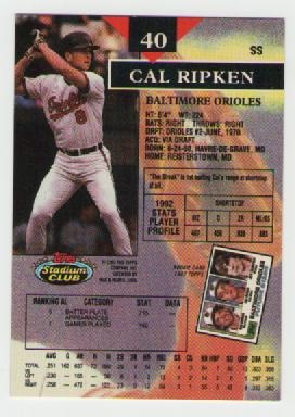 cal ripken jr, stadium club 1993