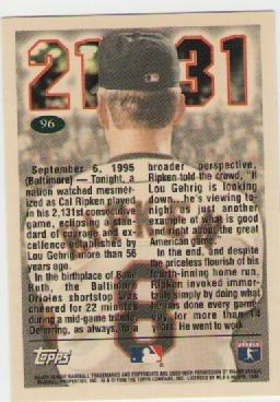 cal ripken jr, topps 1996