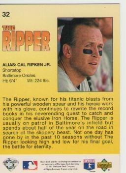 cal ripken jr, upper deck 1993 the ripper