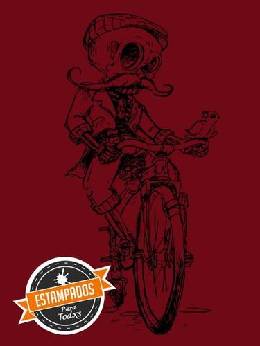 calaca vintage bicicleta polera serigrafia variedad colores