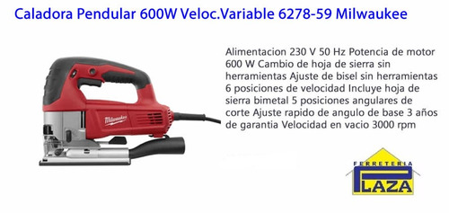 caladora pendular 600w veloc.variable 6278-59 milwaukee