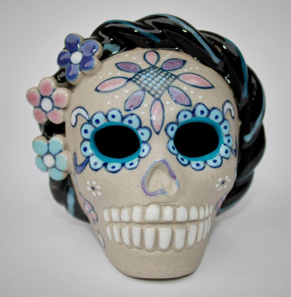 Calavera de ceramica frida kahlo en mercado libre - Como pintar azulejos a mano ...