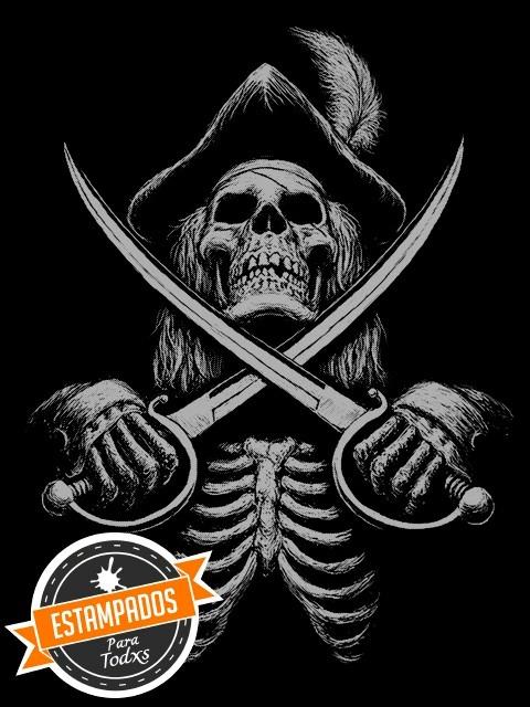 Calavera Pirata Polera Serigrafia Calaca Skull And Bones 8000