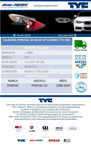 calavera pontiac g3 08-09 5p c/arnes tyc der