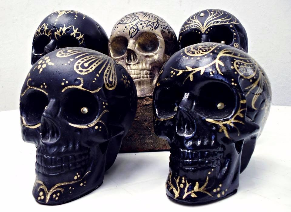 Calaveras Mexicanas Decorativas Pintadas A Mano Blackwork 280