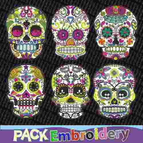 calaveras mexicanas set 6 diseños bordados patrones brother