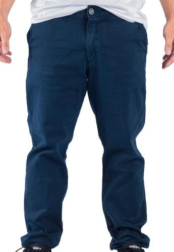 calça alfa sarja bolso faca chino azul marinho - original