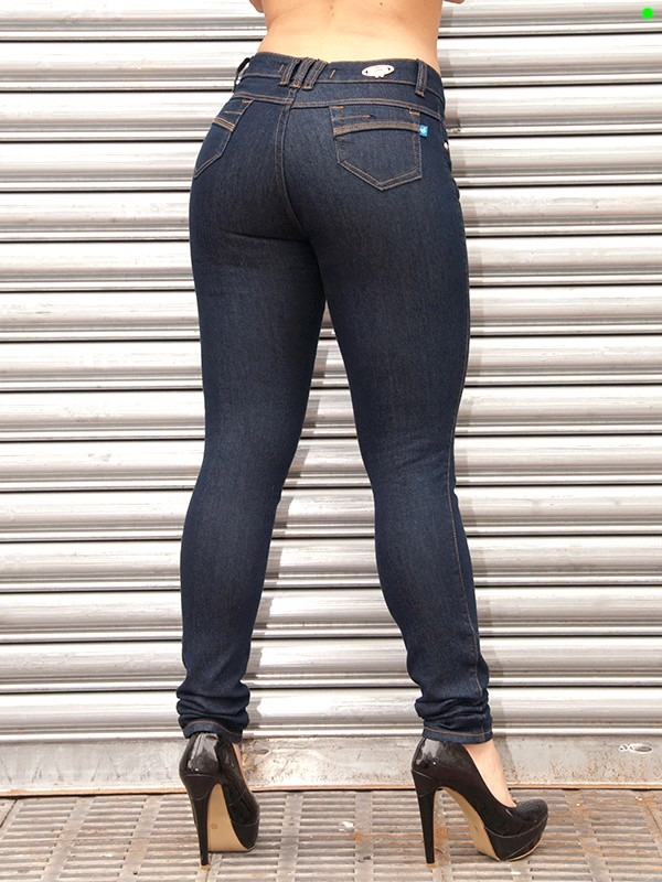 7b20bae23 Calça Azul Cintura Alta Skinny Hot Pants Tenho Da Sawary 858 - R  84 ...